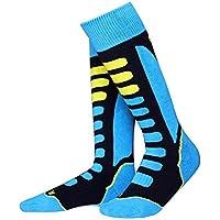 Barrageon Calcetines de Esquí de Invierno Térmico Calientes para Esquiar, Snowboard, Ciclismo, Trekking Control Humedad Anti-Odor Anti-Bacteriano para Infantiles Niños Azul(EU 31-34)