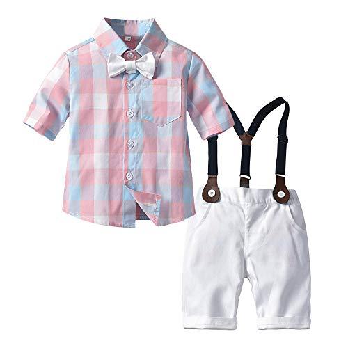 LEHOUR Baby Jungen 2 Stücke Taufe Anzüge Bowtie Shirt Top + Hosenträger Strap Shorts, Formale Kinder Party Outfit Gentleman Kleidung Sets 0-24 M (Jungen Kleine Anzüge)