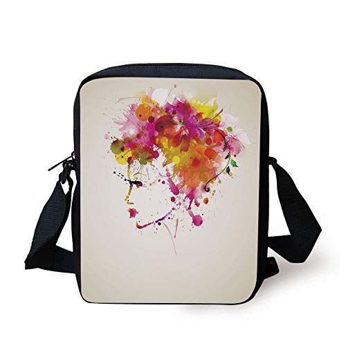Abstract,Watercolor Portrait of a Woman with Artsy Floral Hairstyle Paint Splatters Decorative,Orange Pink Green Print Kids Crossbody Messenger Bag Purse
