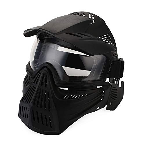 CARACHOME Paintball Maskegasmaske, Explorer Full Face Airsoft Maske, Outdoor Taktische Maske Mit Verstellbarem Gurt Und Schutzbrille, Geeignet Für BB Gun CS Cosplay Kostüm,Black