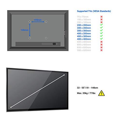 deleyCON Universal TV Wandhalterung – 26″ bis 65″ Zoll (66-165cm) – bis 14° Neigbar – Belastbar bis 35Kg – bis VESA 400x400mm – Wandabstand 25mm – TV Plasma LCD LED OLED TFT Halterung - 2