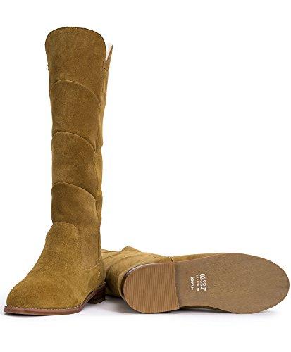OZZEG Féminines Hiver Bottes Longues Chaussures Talons bas en Peau de Mouton Doublure Brun