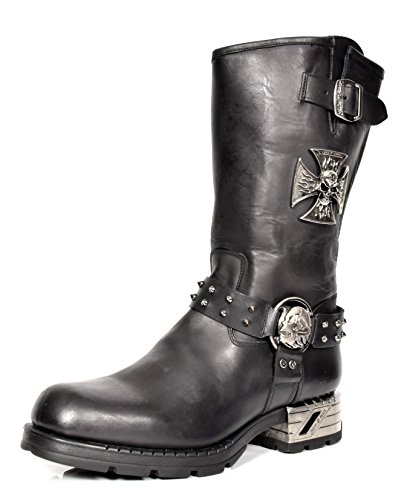 Herren Schwarz Leder Bikerstiefel New Rock Wadenlänge Harness Design Schuhe Mit Rundspitze - A1030S1 (45 EU) (Akzent-stiefel)