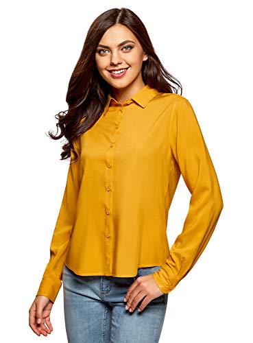 oodji Ultra Mujer Blusa Básica de Viscosa, Amarillo, ES 38 / S