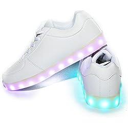 Usay like Envio 24 Horas Zapatillas LED con 7 Colores Luces Carga USB Blanco Hombre Mujer Unisex Talla 35 Hasta 46 Envio Desde España (EU42, Blanco)