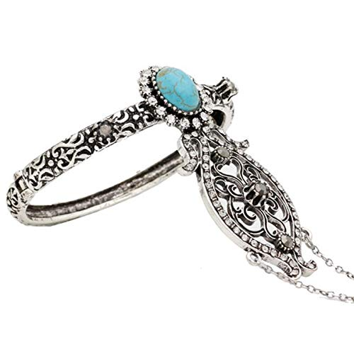 Armband,Hellblau Ethnische Türkische Frauen Blume Solide Vintage Armreif Antique Gold Silber Farbe Arabien Tanz Armband Indische Hochzeit Schmuck (Tanz-armreif)