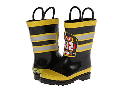 Western Chief Boys Girls Fireman Wellies Wellington Boot Cute Boxed Black/Yellow