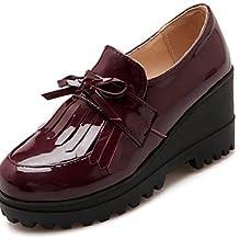 ZQ hug Zapatos de mujer - Tacón Cuña - Cuñas / Plataforma / Punta Redonda - Mocasines - Oficina y Trabajo / Vestido / Casual - Cuero Patentado - , black-us10.5 / eu42 / uk8.5 / cn43 , black-us10.5 / eu42 / uk8.5 / cn43