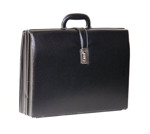 Executive Klassik Attache Aktenkoffer Organizer Tasche Kombinationsschloss HOL9196 Schwarz (Executive Attache Aktenkoffer)