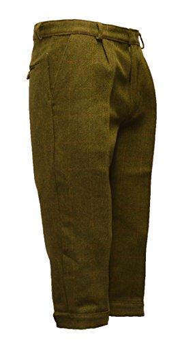Herren Kniebundhose aus Tweed - für die Jagd geeignet - Dunkles Salbeigrün - Größen 30