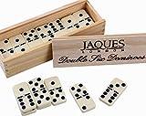 Jaques of London Double Six Dominos avec Fileuses - Présenté dans Une Boîte De Couvercle Coulissante en Pin