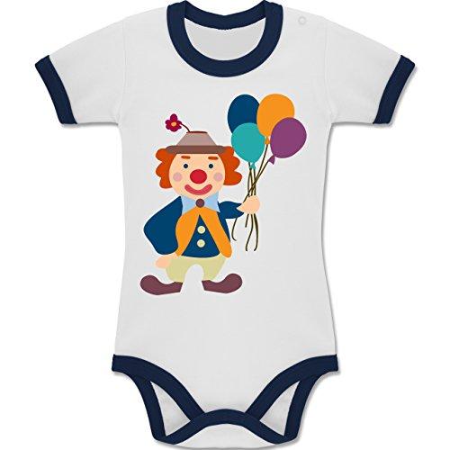 und Fasching Baby - Clown Luftballons - 12-18 Monate - Weiß/Navy Blau - BZ19 - Zweifarbiger Baby Strampler für Jungen und Mädchen (Mädchen Harlekin Clown Kostüme)