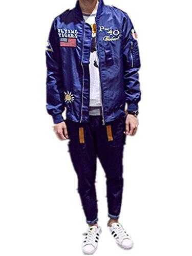 Ecollection® Unisex Boyfriend Damen Jahrgang Bomberjacke Stickerei Klassisch Bikerjacke Padded Mantel Vintage Bomber Jacket Embroidery Classic Zip up Biker Jacket Stylish Coat Blau