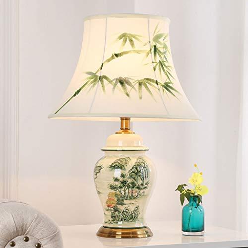 Nouvelle lampe de table en céramique chinoise Télécommande Dimmable chambre lampe de chevet E27 salon lampe de bureau décorative (Couleur : B-Interrupteur de commande à distance)