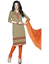 LAVIS Women's Cotton Dress Material (Ranisak102_Free Size_Brown)