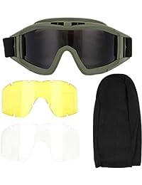 Jacksking Gafas Antipolvo, tácticas Gafas Airsoft Paintball Ski Gafas Antipolvo Anti-Niebla Gafas Protectoras(Ejercito Verde)