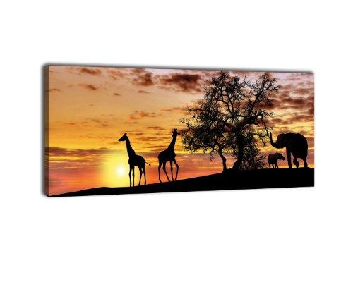 Leinwandbild Panorama Nr. 424 Tiere im Abendrot 100x40cm, Keilrahmenbild, Bild auf Leinwand, Afrika, Giraffe, Elefant
