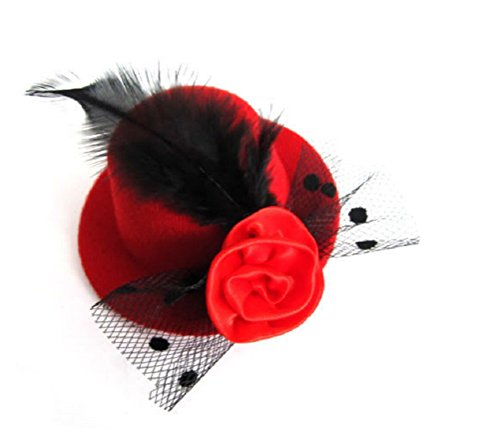 JBR Fascinator Mini Zylinder Hut Damen Zylinderhut mit Blume Federn Mini Hut Miniatur auf Haarreif (Rot)