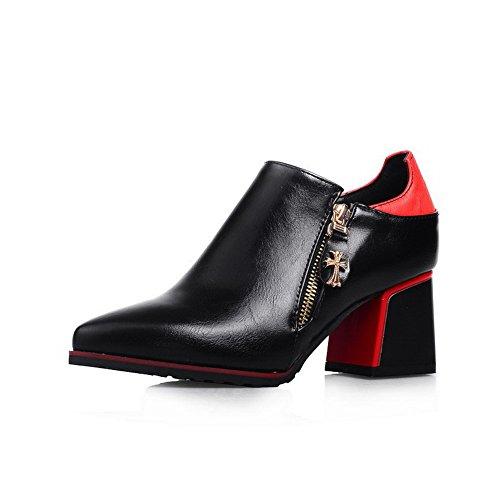 AllhqFashion Femme Couleurs Mélangées Pu Cuir à Talon Correct Pointu Zip Chaussures Légeres Rouge
