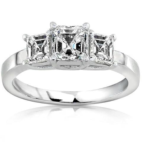Trois Pierres Bague de Fiançailles Diamant 1carat (ctw) en or blanc 14K