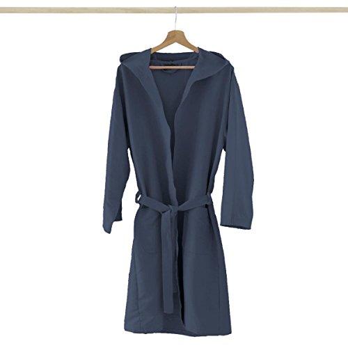 Accappatoio microfibra con cappuccio tasche + borsa uomo donna, colori vari p739 m blu