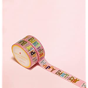 Happy Birthday Rose/Cooper Gold Foil Washi Tape for Planning • Planer und Organizer • Scrapbooking • Deko • Office • Party Supplies • Gift Wrapping • Colorful Decorative • Masking Tapes • DIY (15mm breit - 10 Meter)