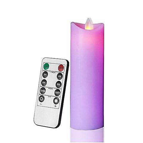 10touches télécommande alimentation de la batterie sans fumée Flamme dansante Bougies, mince pilier Bougies en cire avec mèche en mouvement (Violet, 5.5x 17cm)