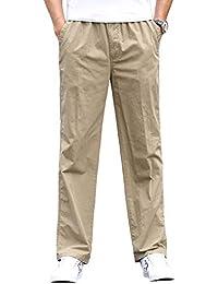 8791f803ca Gmardar Pantalones Hombre Pantalón Casual para Hombre de Algodón con  Bolsillos Laterales y Cinturón Ajustable