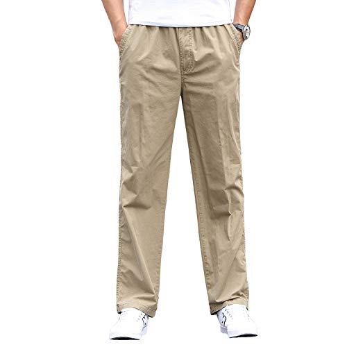 Gmardar pantaloni uomo elegante con tasche laterali zip elastica vita cotone dritti larghi fit casual regular taglie forti diversi colori (cachi, 36-38)