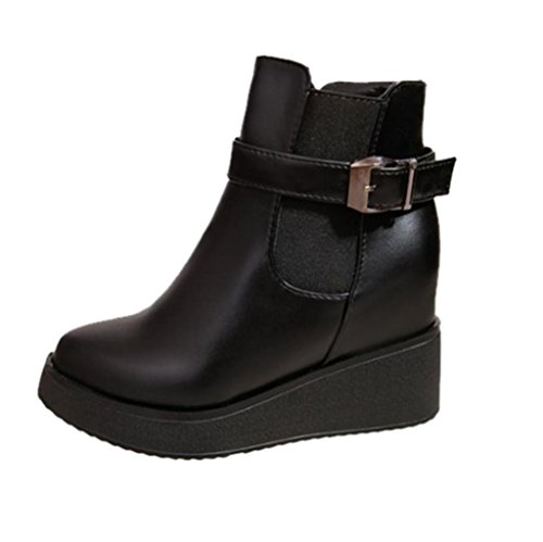 taottao Winter Martin Damen Stiefel, dick mit Schnalle erhöhte Flache Schuhe, Gummi, schwarz, 37 (Trim Schuh Boot Schnalle)