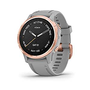 Garmin Carbon-Graphite Fenix 6S Sapphire - Rose Gold-Tone with Powder Gray Band Wrist-Based Heart Rate¹ and Pulse OX² Sensors Add Insight to Your Fitness Activities