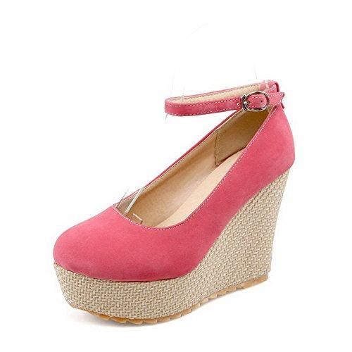 AllhqFashion Damen Mattglasbirne Schnalle Rund Zehe Hoher Absatz Rein Pumps Schuhe Pink