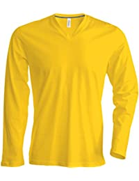 Kariban Herren Langarm T-Shirt mit V-Ausschnitt K358 Yellow L