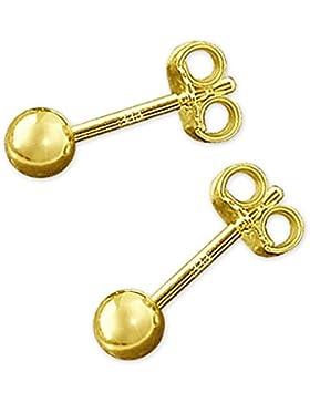 CLEVER SCHMUCK Goldene kleine Ohrstecker mit Mini Kugel Ø 3 mm glänzend 333 GOLD 8 Karat