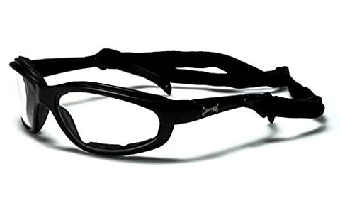 Choppers Slim-line Motorcycle Black Sunglasses / Goggles - Clear (Moto Chopper)