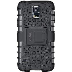 ykooe Galaxy s5 Coque,s5 Coque (Armor Séries) Silicone Anti Choc avec Béquille Housse Etui pour Samsung Galaxy S5 (Noir)