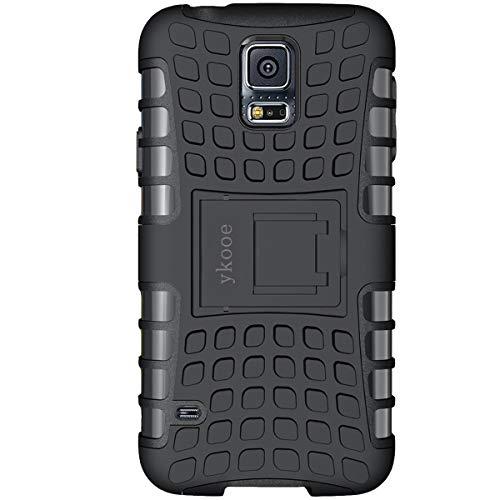 ykooe Galaxy S5 Hülle,S5 Hülle (TPU Series) Dual Layer Hybrid Handyhülle Drop Resistance Handys Schutz Hülle mit Ständer für Samsung Galaxy S5 (Schwarz) -