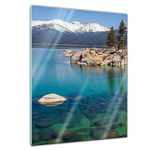Bilderdepot24 Glasbild Lake Tahoe in den USA - 60 x 80 cm - Deko Glas - brilliante Farben, inkl. Aufhängung