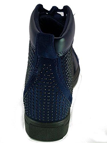 Shoes Scarpe da Passeggio Donna Ragazza Moda Comoda New Tacco Basso Blu