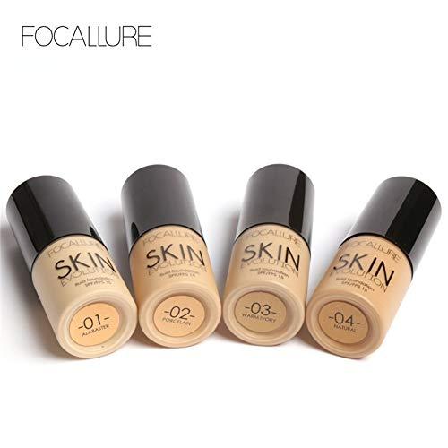 E-CHENG 8 Types FOCALLURE Base Cream Face Whitening Moisturizer Concealer Camouflage Liquid Foundation(#1) -