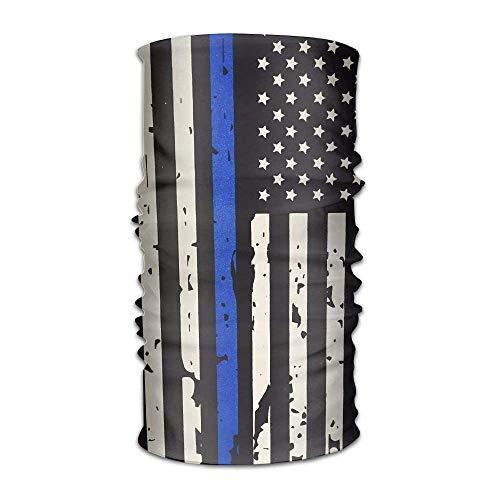 Jieaiuoo Women Men USA Flag Thin Blue Line Fashion Headscarf Outdoor Sport Headwear Bandanas Multifunction Magic Scarf,Neck Gaiter,Hand Wrap,Neck Balaclava for UV Resistence Design9 Blue Silk Sari
