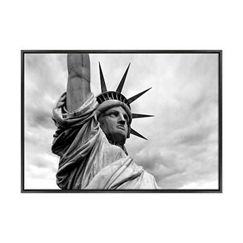 ConKrea Quadro auf Leinwand - fertig zum Aufhängen - Cittö New York B/N - Freiheitsstatue - Liberty - USA America - 70 x 100 cm - Moderner Stil Nero- (Art.001)