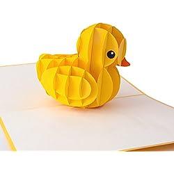 """3D Geburtstagskarte """"Ente"""", Karte zum Geburtstag, Geburtstagsgeschenk für Frauen, für Männer, Geschenkkarte, kreative Geburtstagskarte, handgefertigt, mit Umschlag und mit Folie, Pop Up Karte"""