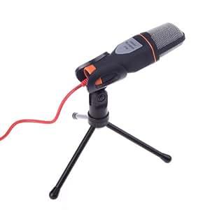 Andoer Micro Wired filaire câble Microphone à condensateur avec l'étagère de support pour le Chat de chant karaoké PC portable noir