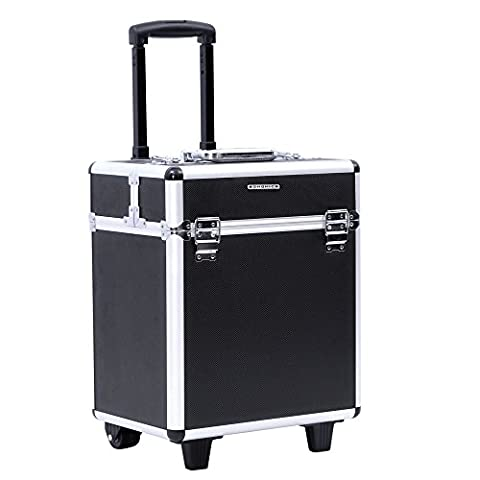 Songmics® Beauty Case Trolley Maquillage Coiffure Nail Cosmetic Valise boîte à maquillage outils bagages noir (borse e valigie Borse)