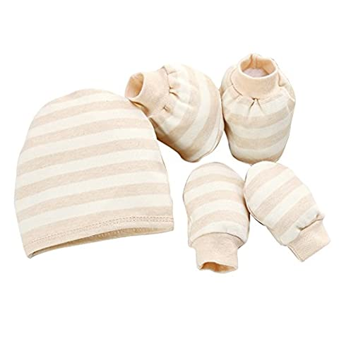 Fairy Baby Newborn Natural Cotton Striped Cap Mittens and Booties Set-Khaki Stripe,0-8 months