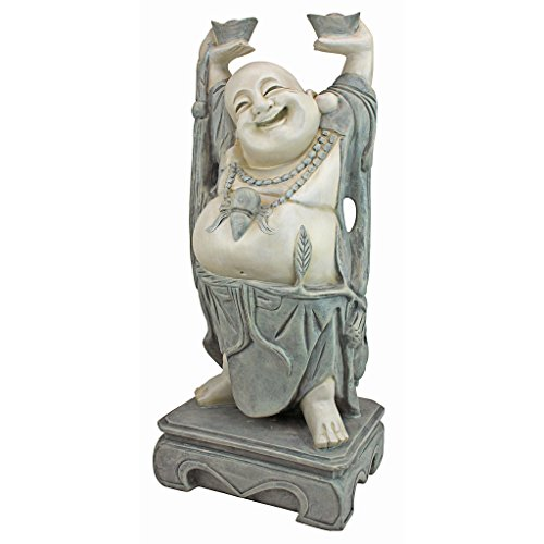 Design Toscano Jolly Hotei, der lachende Buddha Asiatische Dekogartenstatue, Polyresin, zweifarbig Stein, 63,5 cm
