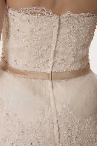 GEOGE BRIDE - Robe de princesse chic avec petite noeud papillon rose autour de la taille Ivoire