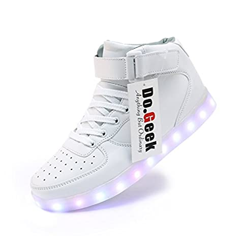 DoGeek - LED Chaussure Lumineuse Lumiere - Unisexe Homme Femme Chaussure Sports Baskets Mode- 7 Led Colorful -Usb rechargeable, Blanc, 41 EU