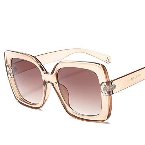 GJYANJING Sonnenbrille Übergroße Sonnenbrille Damenmode Transparent Gradient Vintage Sonnenbrille Männer Großen Rahmen Retro Goggle Uv400